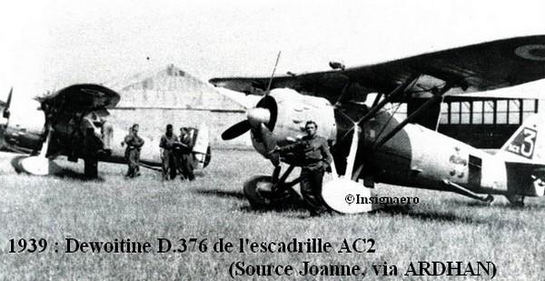 1939   Dewoitine D.376 de l escadrille AC2