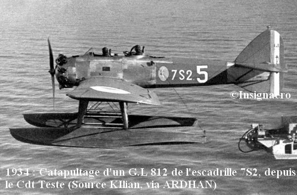 En 1934  catapultage du G.L 812 de la 7S2 depuis le Tr. hydr. Cdt Teste