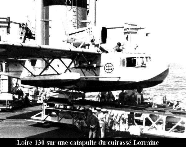 Loire 130 sur une catapulte du cuirasse Lorraine