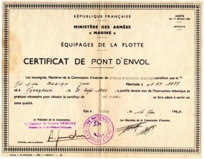 Photo papier certificat de pont d envol