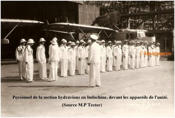Cat Lai. Inspection du personnel de la section hydravions en Indochine