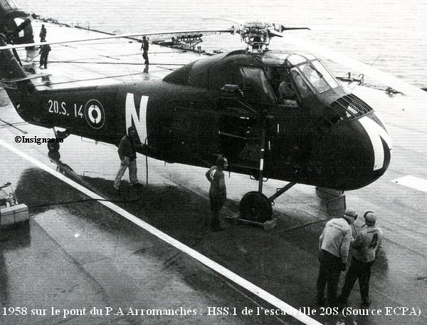 En 1958 sur le pont de l Arro  HSS.1 de la 20S