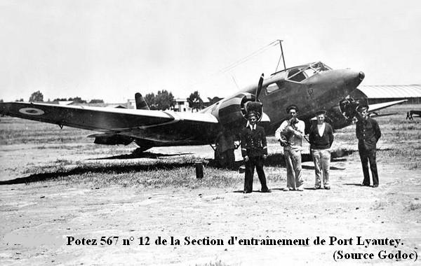 Vers 1942 Potez 567 de la section d entrainement de Port  Lyautey