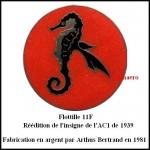 Flottille 11F reedition hippo rond de 1939 AB en argent