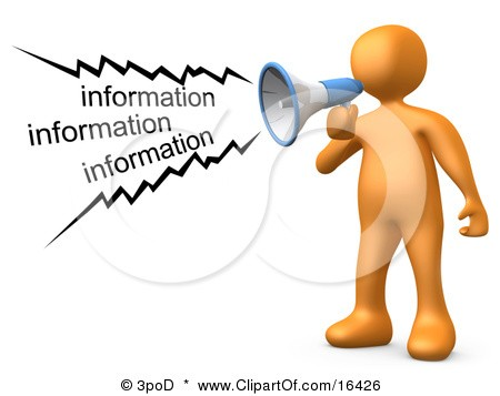 16426 Orange Person Shouting Information Through A Megaphone Clipart Illustration Graphic 1