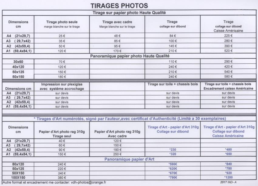 2017 TARIF VENTE TIRAGES