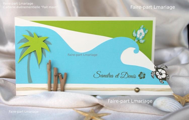 Faire-part thème îles et lagons aux tortues de mer en ivoire, vert et turquoise