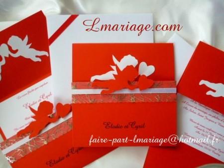 faire part ange prestige rouge et blanc  3