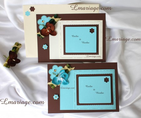 faire part bambou et orchidee en turquoise et chocolat  14