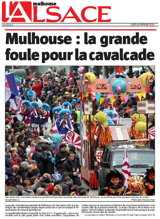 Article Alsace 60e Carnaval de Mulhouse