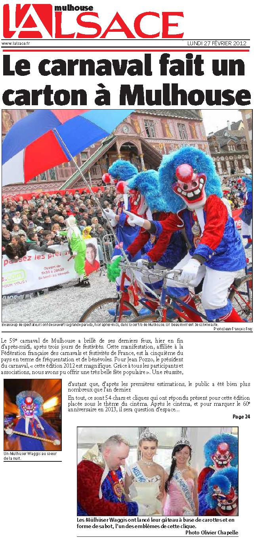 Article Alsace Carnaval de Mulhouse 2012