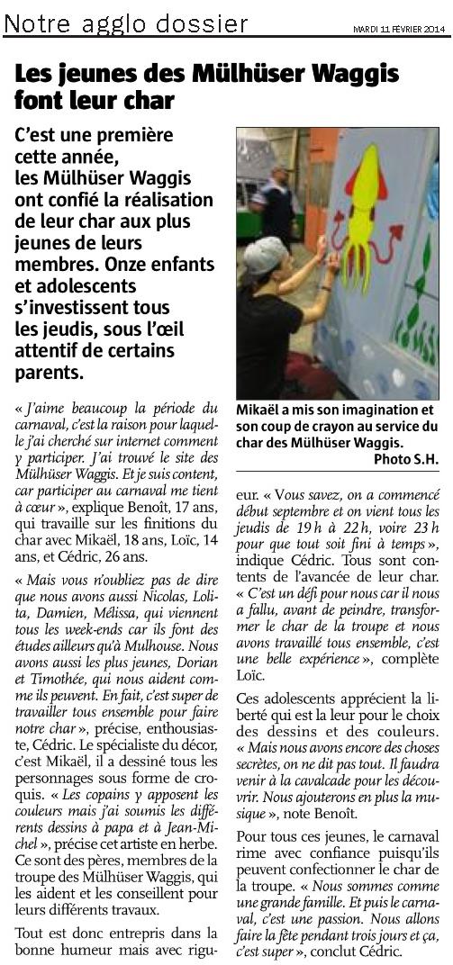 Article Alsace Le Char des jeunes 2014