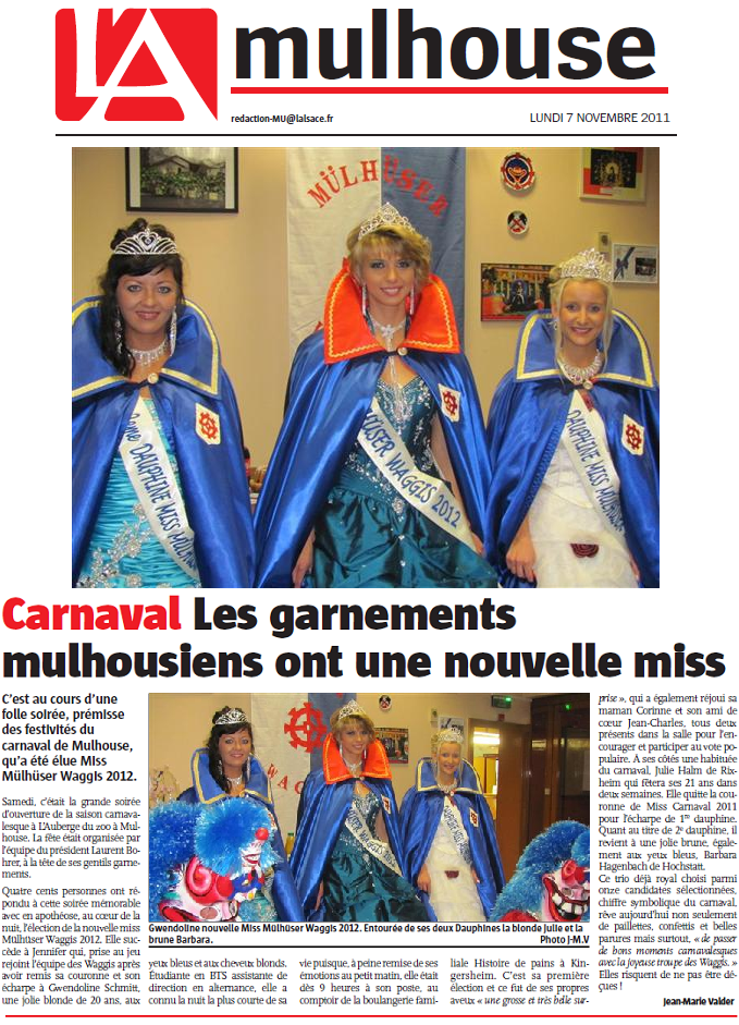 Article Alsace Miss Mulhuser Waggis 2012