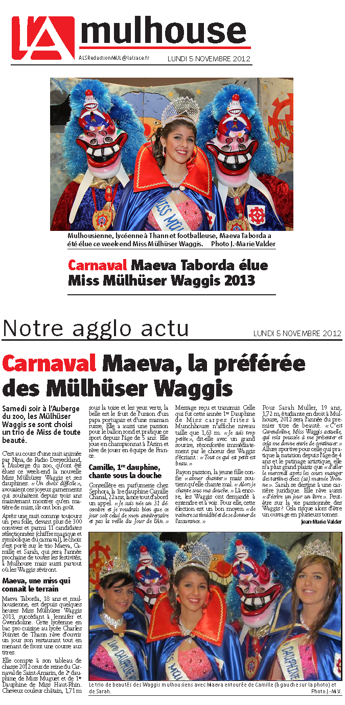 Article Alsace Miss Mulhuser Waggis 2013