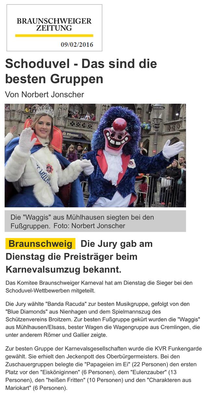 Article du Journal Braunschweiger Zeitung 09.02.2016