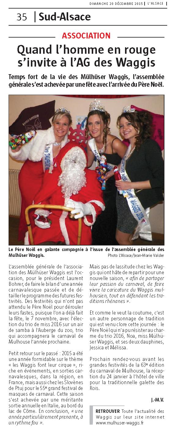 Article du Journal L Alsace AG 2015