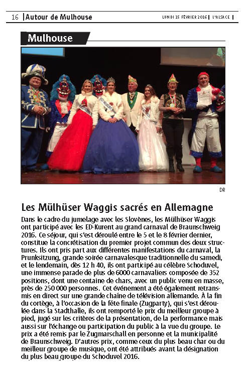 Article du Journal L Alsace Braunschweig 2016