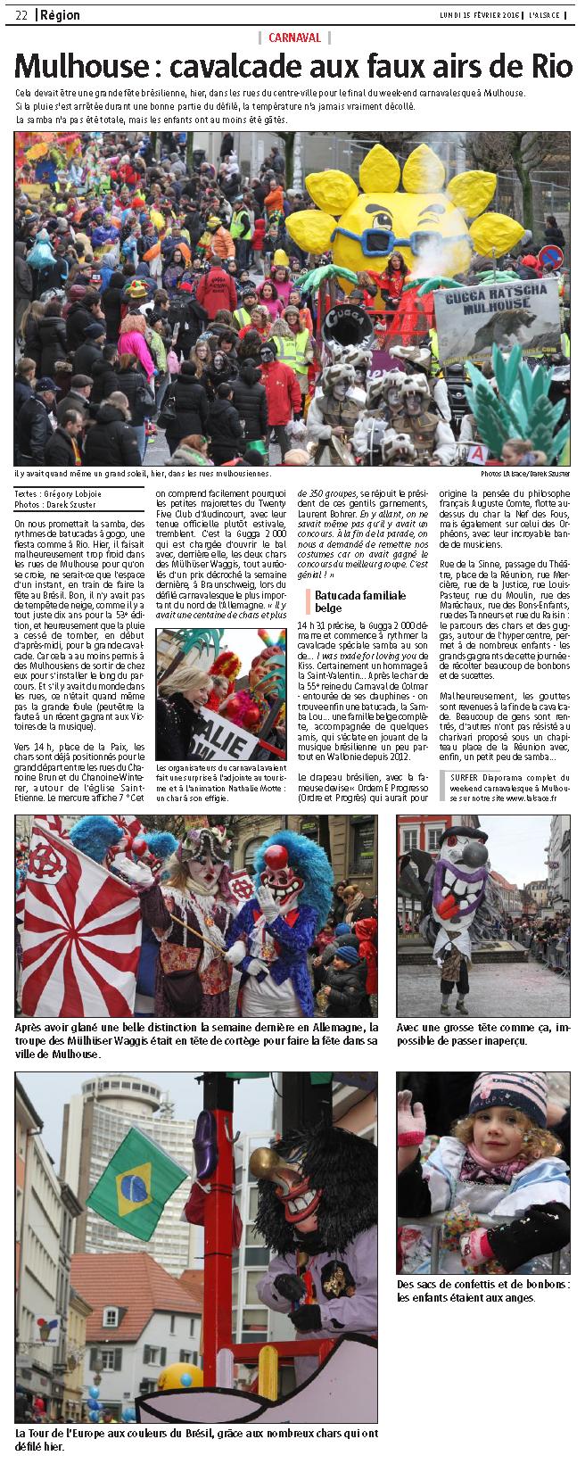 Article du Journal L Alsace Mulhouse 2016