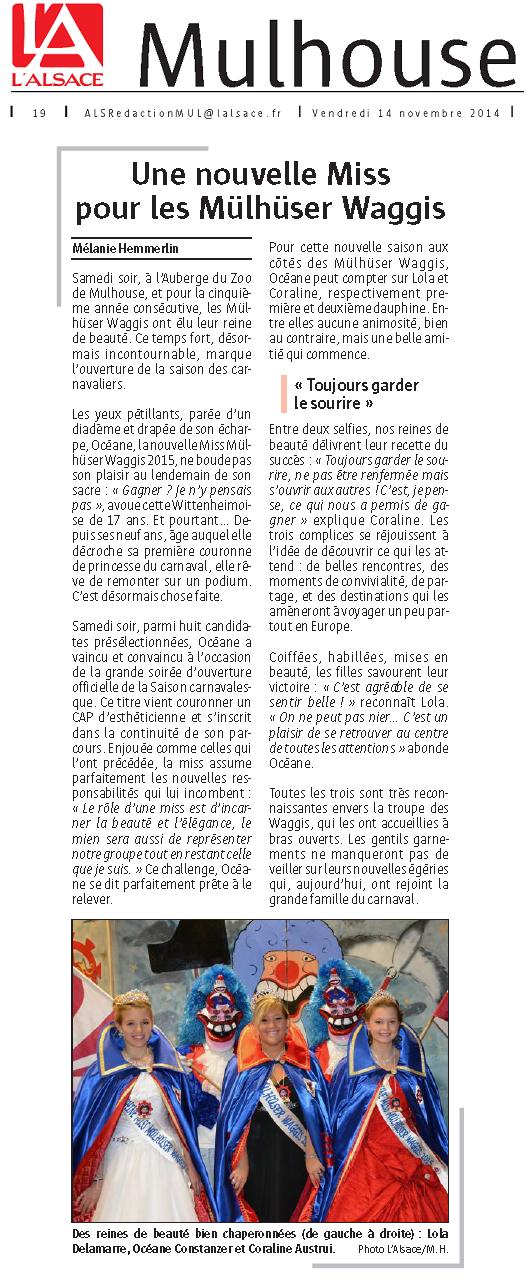 Article du Journal l  Alsace du 14.11.14