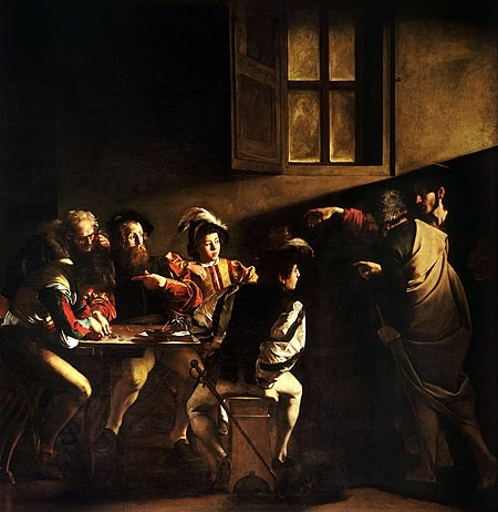 450px The Calling of Saint Matthew Caravaggo  1599 1600   1