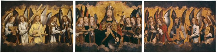 Hans Memling   Christ with Singing and Music Making Angels   KMSKA 778 780