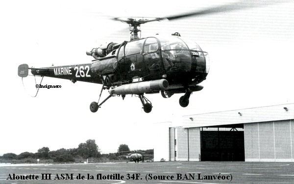 Alouette III ASM de la flottille 34F a Lanveoc