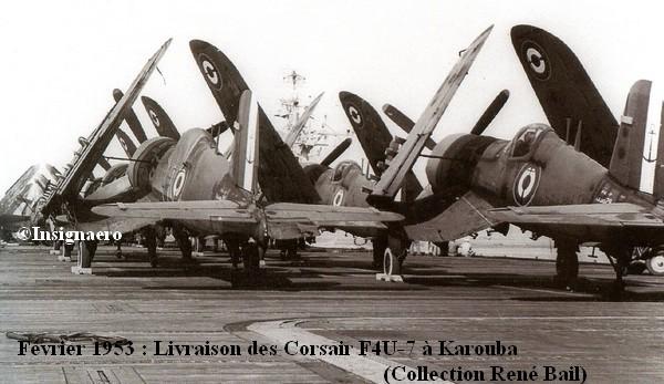 Arrivee des F4U 7 de la 14F a Karouba en fevrier 1953