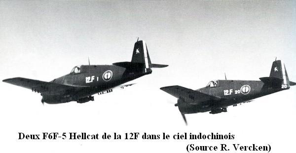 Deux Hellcat F6F 5 de la 12F dans le ciel indochinois