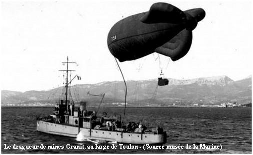 Drag de mines Granit au large de Toulon