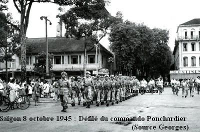 Defile du Cdo Ponchardier a Saigon le 8 oct. 1945