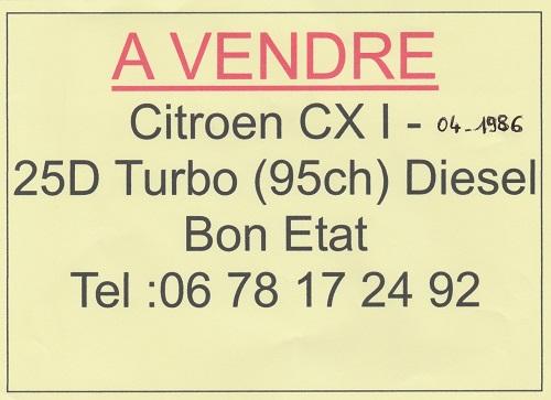 a vendre Citroen CXI